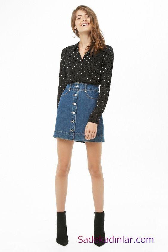 Siyah Gömlek Kombinleri Bayan Mavi Kısa Kot Etek Siyah Uzun Kol