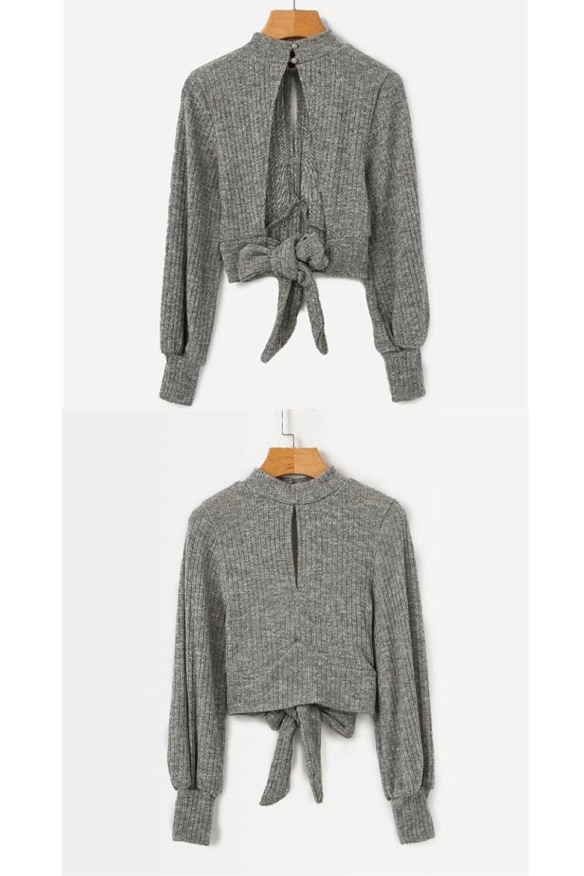 17b3db0b4 Grey Highstreet Open Back Knot Detail Crop Marled Knit Long Sleeve Solid  Jumper Autumn Casual Women