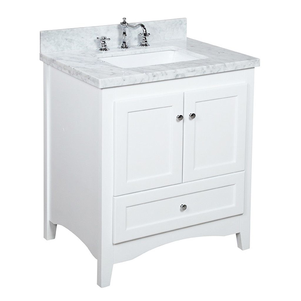 Abbey 30 Inch Vanity Carrara White White Vanity Bathroom