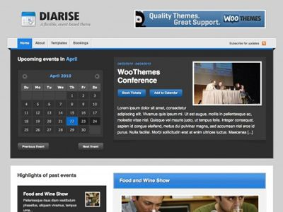 Wordpress Events Templates - Diarise Company Events Themes ...