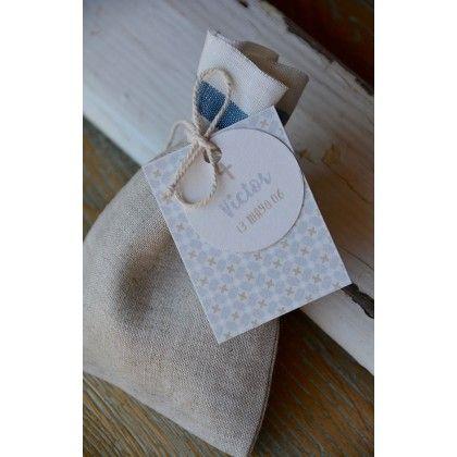 Bolsita de lino estampado caramelos personalizada