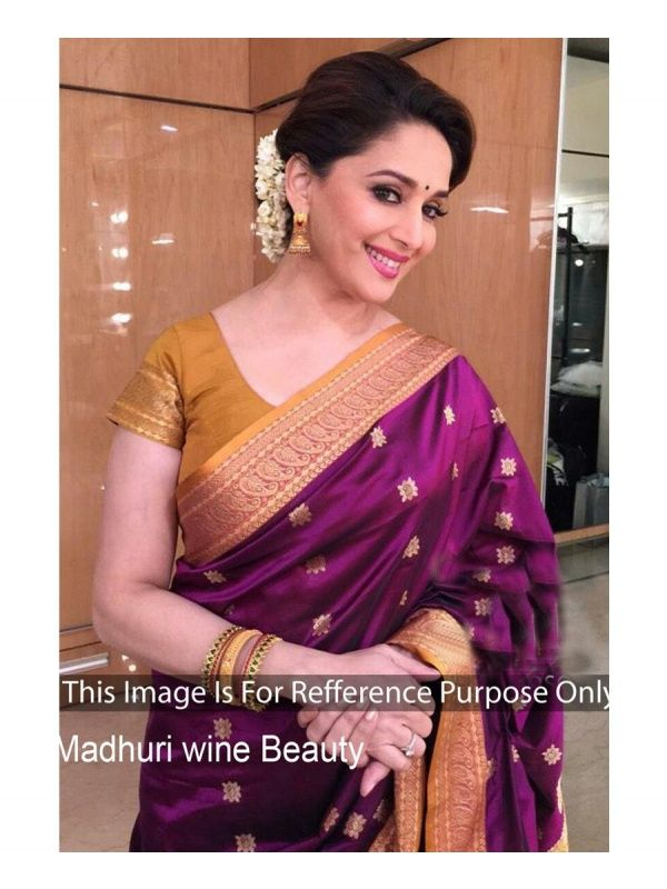 75fe816795ee5a Madhuri Dixit Magenta Georgette Designer Sarees with Golden Color Raw Silk  Blouse. It contained the work of Embroidery