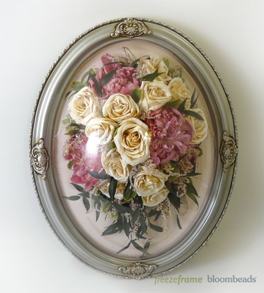 Preserved Wedding Bouquet In An Oval Frame Www Freezeframeit Com