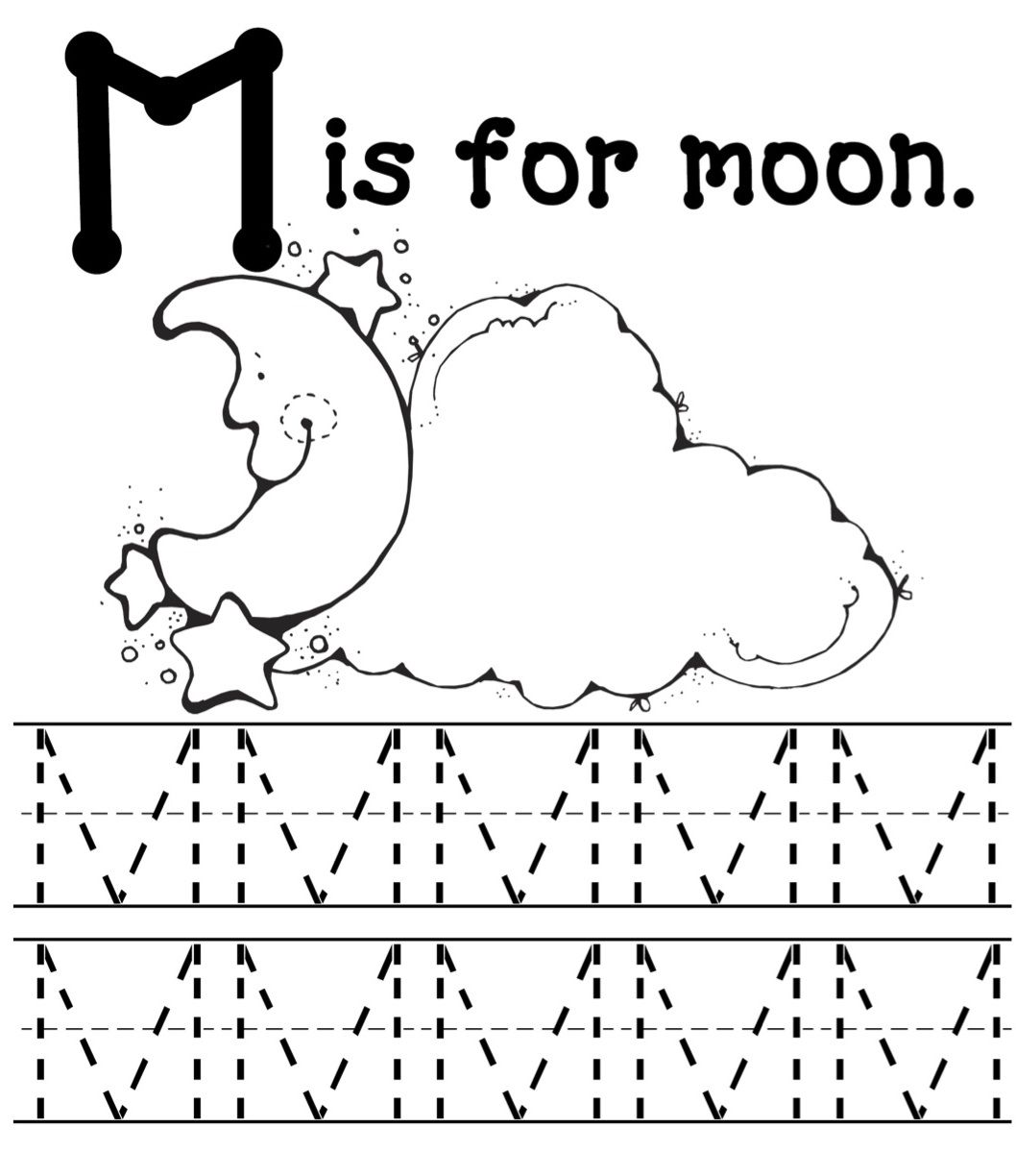 Mommy School Letter M Worksheets Preschool Worksheets Moon Coloring Pages