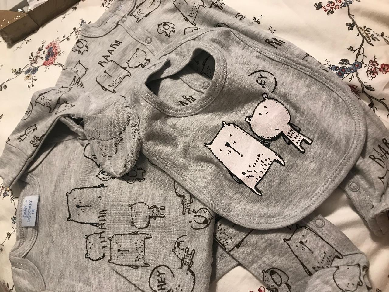 إشتري طقم اطفال 5 قطع بتصميم عملي قابل للتنفس أطقم أطفال في Jolly Chic الدفع عند الاستلام Cute Cartoon Comfy Romper Teddy Bear