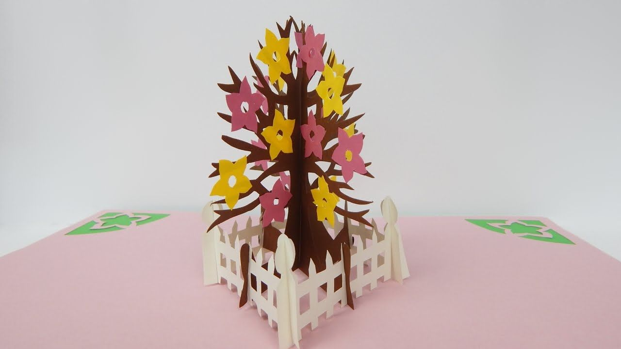 How To Make A Pop Up Card Tree In Autumn With Flowers 3d Greeting