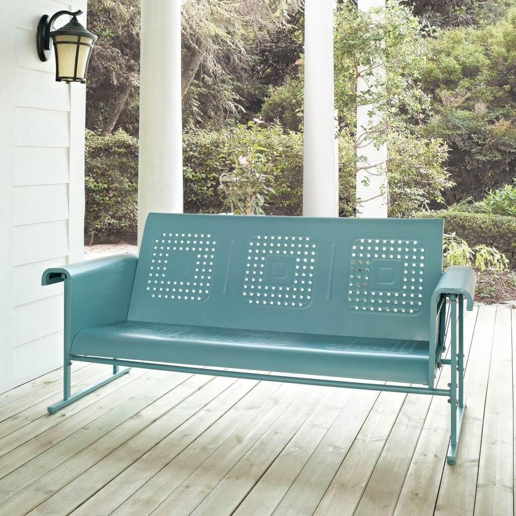 Cool Aqua Retro Porch Glider Design For Exterior Bench Ideas Wooden Porch Glider 3 Person Porch Glider Glider B Outdoor Glider Metal Sofa Metal Patio Furniture