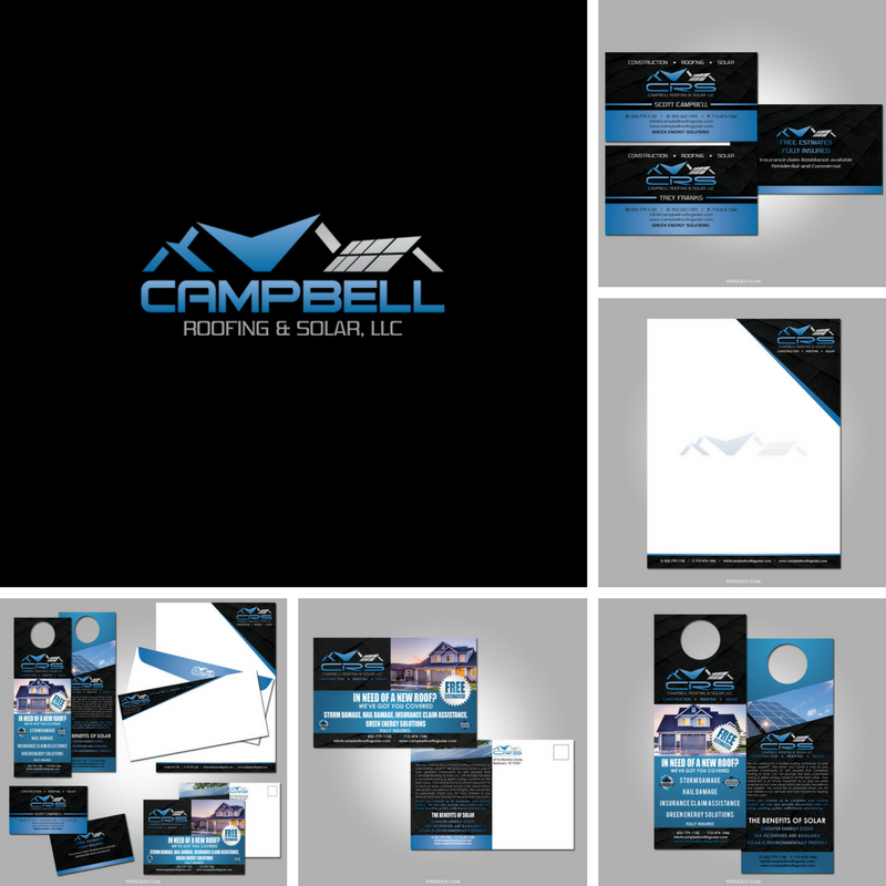 The campbell roofing and solar project design and printing logo neil jou productions print shop houston offers premier design solutions for business cards printing in houston visit neiljou for houston photography reheart Choice Image