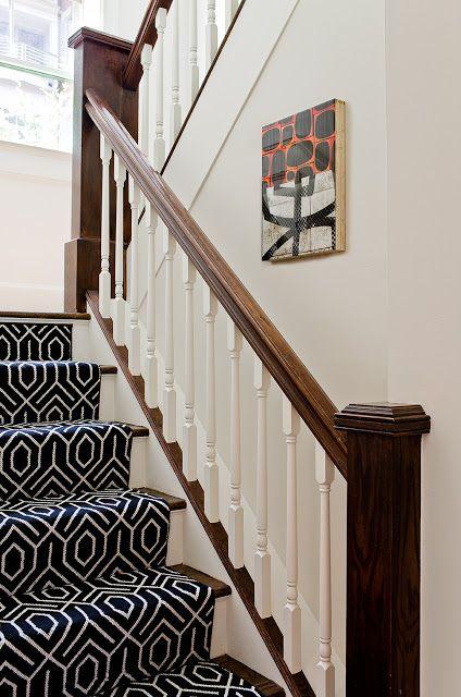 Bold Print Black White Stair Runner Stairs Design Geometric