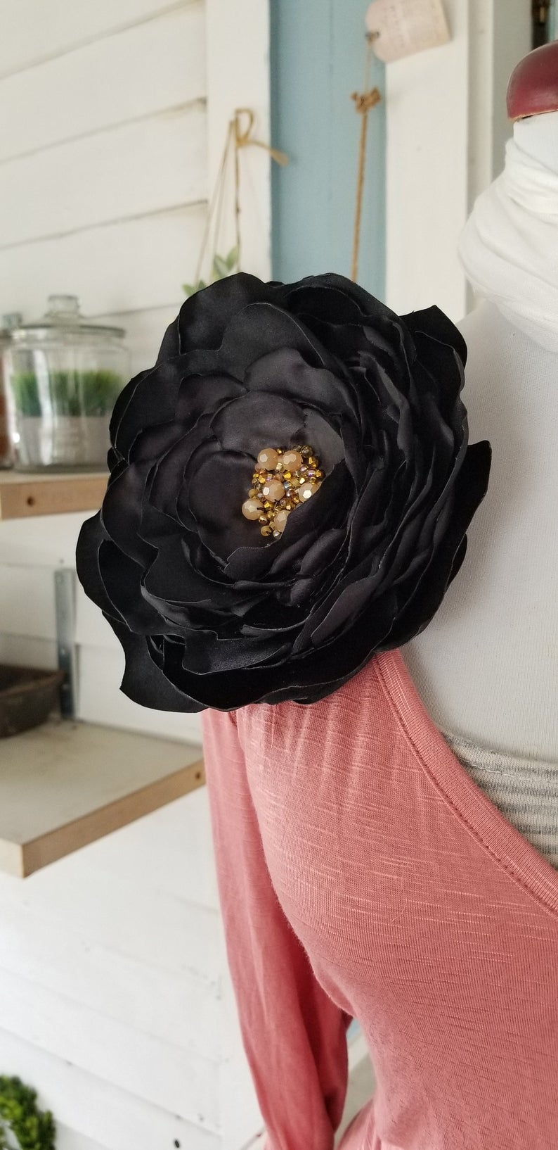 Full 5 Peach Peony Silk Flower Brooch Pin