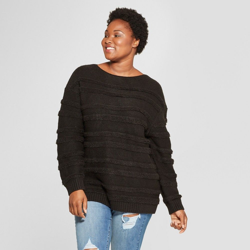 Womens Plus Size Striped Long Sleeve Boucle Pullover Sweater