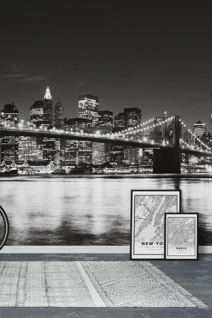 Brooklyn Bridge Black And White Wall Mural Wall Murals City
