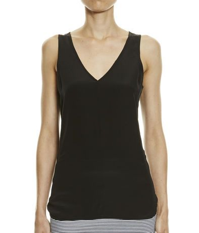 Ebony Mix Media Silk Tank from SABA