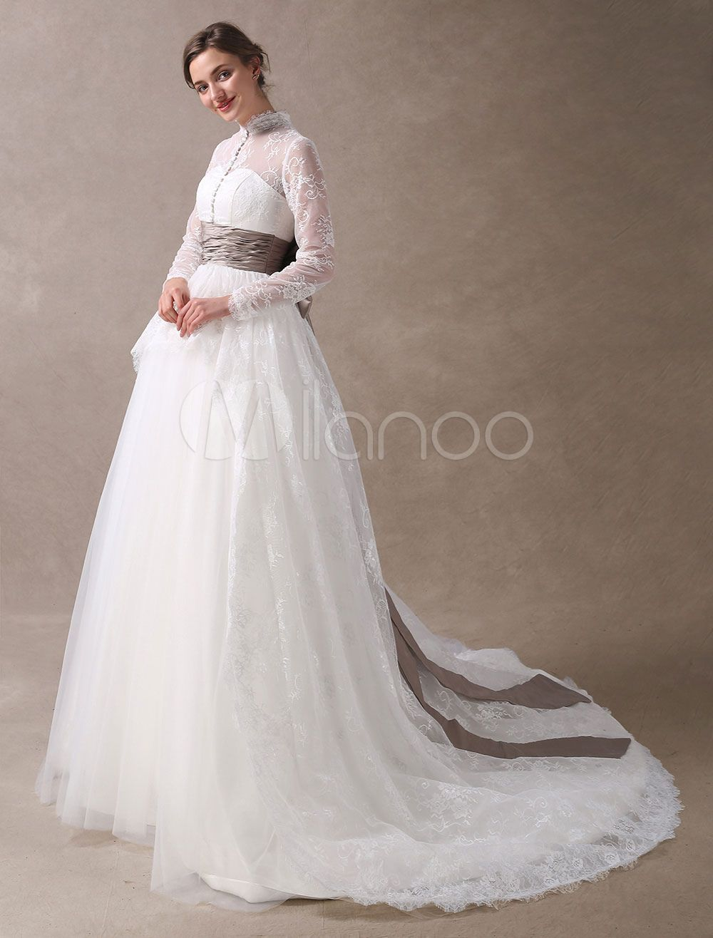 Princess wedding dresses ball gowns lace long sleeve bridal dress