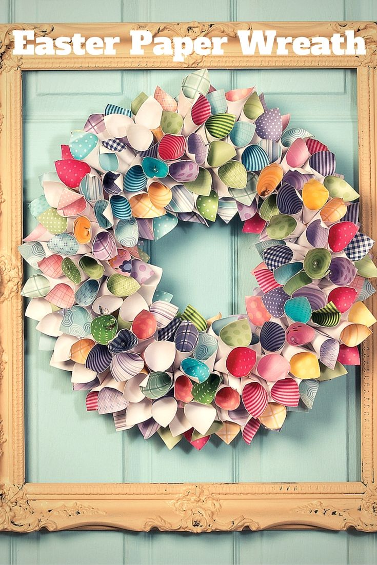 DIY Easter Paper Wreath is super easy to make, using your favorite colors and paper patterns.