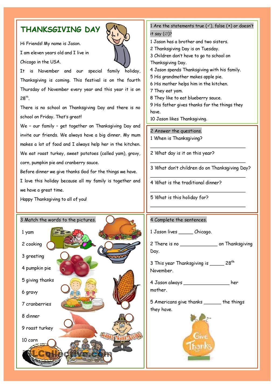 Workbooks thanksgiving reading comprehension worksheets middle school : Thanksgiving Day | THANKSGIVING | Pinterest | Thanksgiving ...