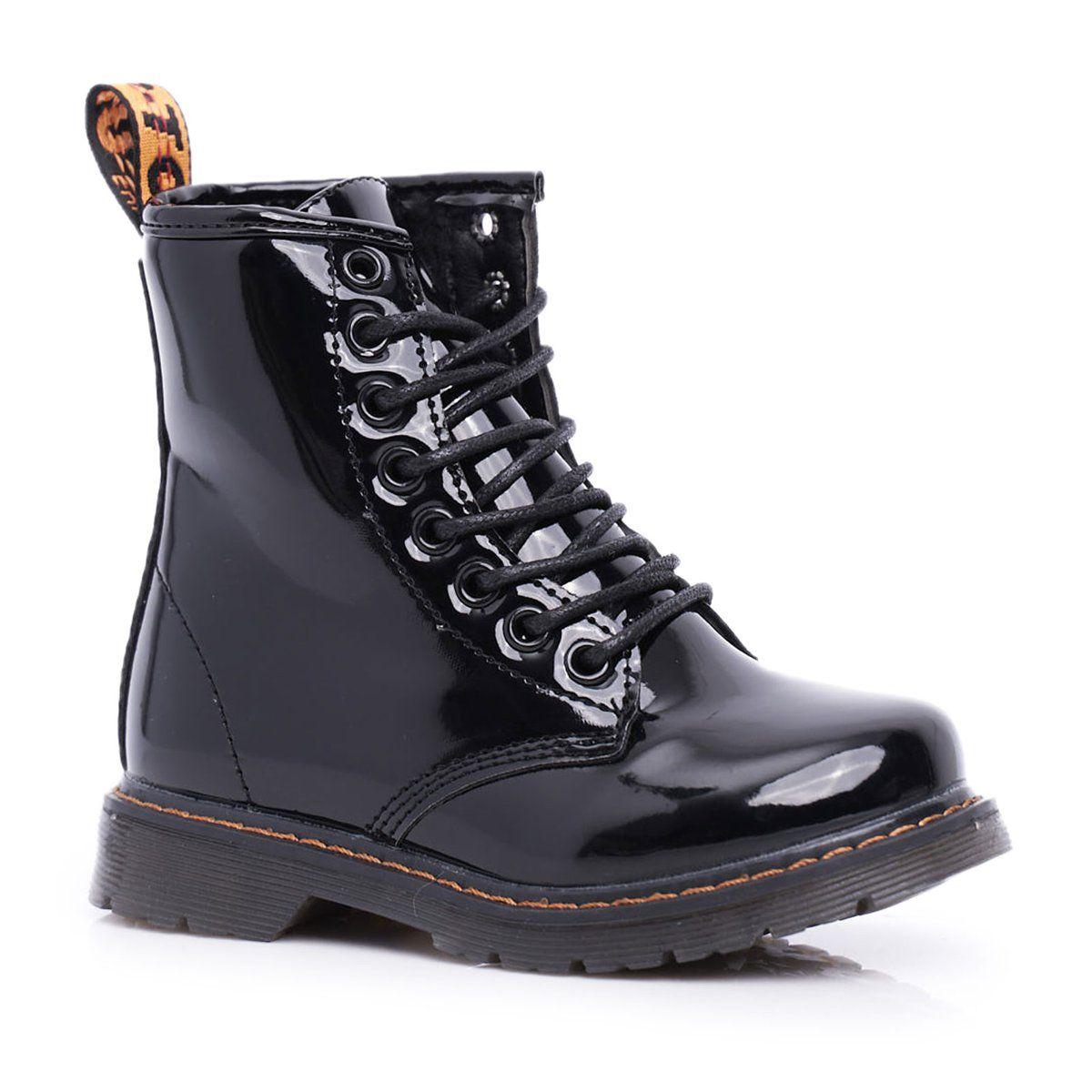 Frrock Dzieciece Botki Ocieplane Z Suwakiem Lakierowane Czarne Goopy Combat Boots Boots Dr Martens Boots