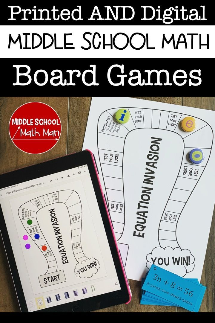Printed and Digital Math Games for the Middle School