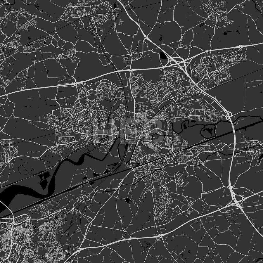 Warrington, England, UK - Area Map - Dark | Maps Vector Downloads ...