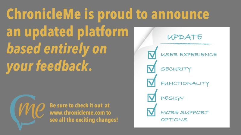 Check out our new www.ChronicleMe.com platform! We'd love to hear your thoughts. Please email us at chris@chronicleme.com!