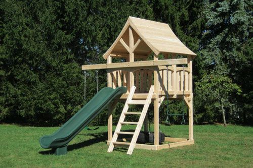 Cedar swing set for small yards with arched wood roof and ...