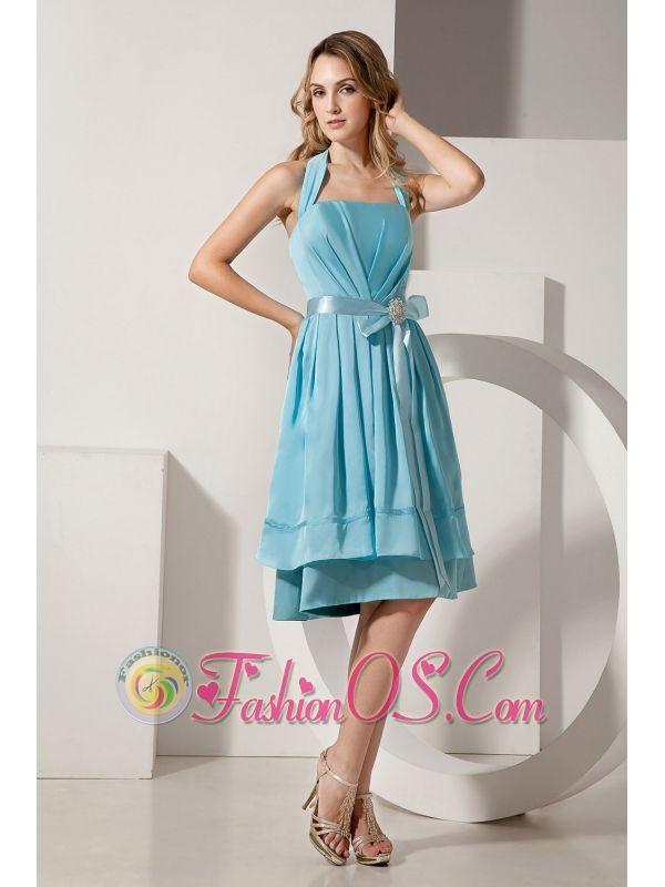 015e780dc2 Aqua Blue A-line Halter Knee-length Bridesmaid Dress Taffeta Ruch and Bow