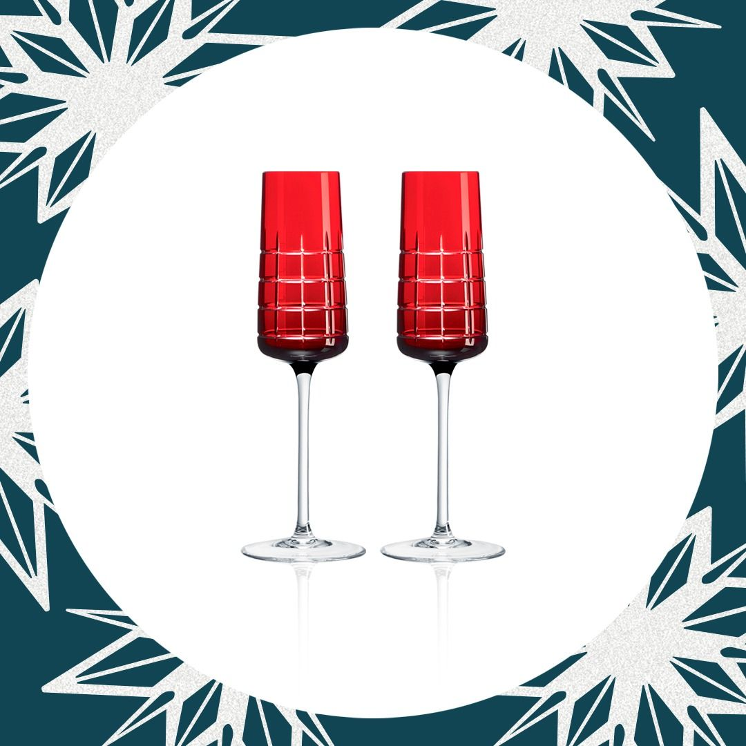 Set Of Two Crystal Flutes Red Crystal Flutes Crystals Christofle