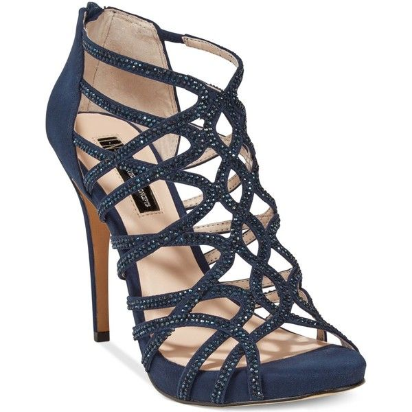 Inc International Concepts Women's Sharee High Heel Rhinestone Evening... ($42) ❤ liked on Polyvore featuring shoes, sandals, eclipse blue, rhinestone sandals, blue high heel shoes, blue shoes, special occasion shoes and evening shoes