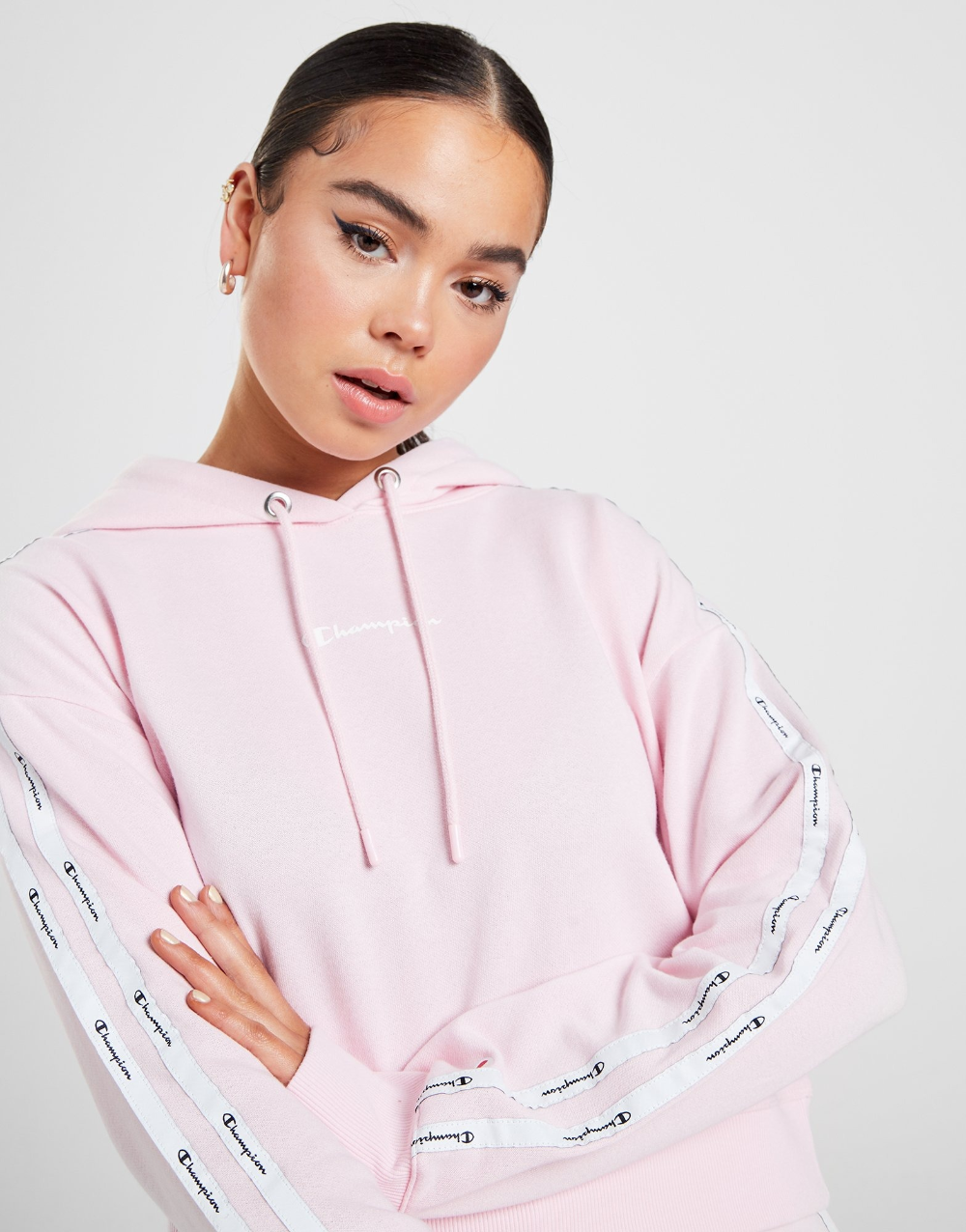 Shop Online For Champion Double Tape Crop Hoodie In Pink With Jd Sports Australia S Leading Sports Fashion Retailer Retail Fashion Fashion Cropped Hoodie [ 1276 x 1000 Pixel ]
