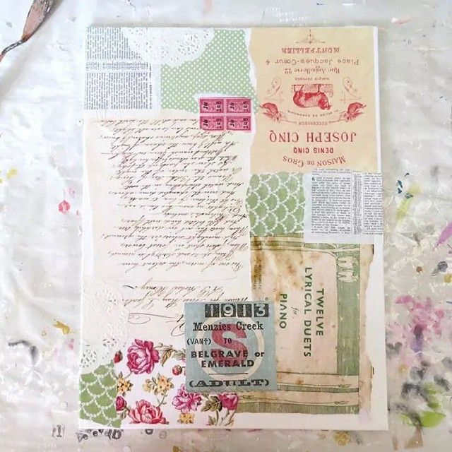 First Layer If Old Vintage Papers And Imagery Vintagepapers Mixedmedia Artinprogress Fren Vintage Paper Crafts Scrapbook Paper Crafts Bible Art Journaling