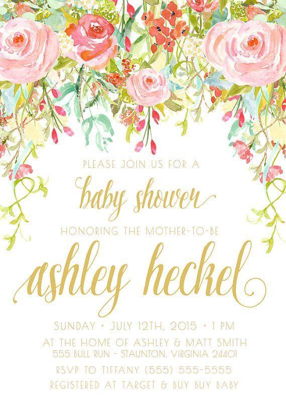 girl baby shower invitation watercolor flower by kreynadesigns, Baby shower invitations