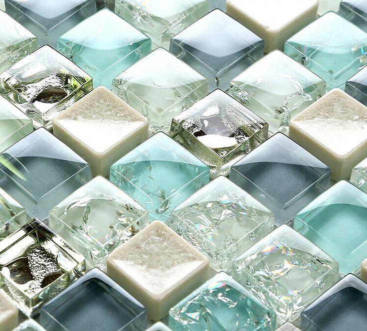 Blue ice crack glass tile mosaic sheets beige crackle glass ...