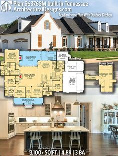 House plan sm architectural designs bedrooms baths and sq ft also acadian home with outdoor kitchen favorite rh pinterest