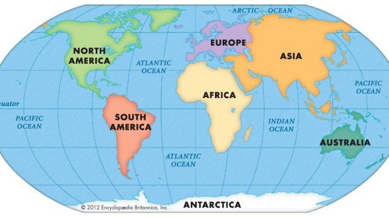 ما هي أكبر قارة Continents And Oceans World Geography World Map Continents