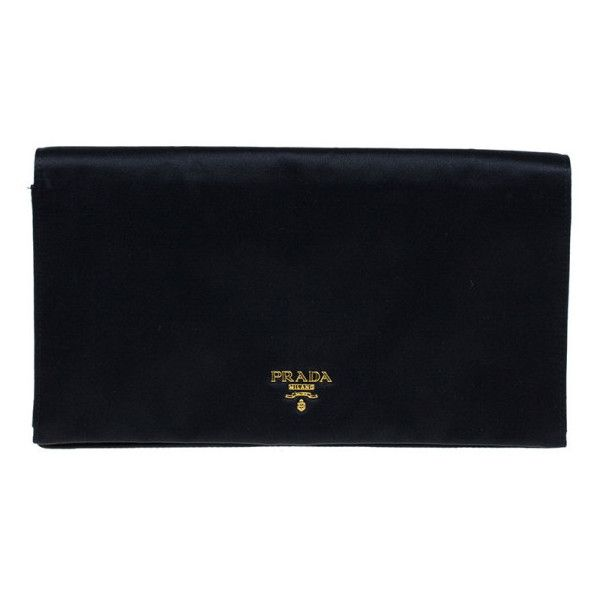 d24b0eb8f475 LC - Buy   Sell - Prada Black Satin Clutch ❤ liked on Polyvore featuring  bags