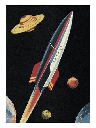 Rocketship in Outer Space Láminas en AllPosters.es