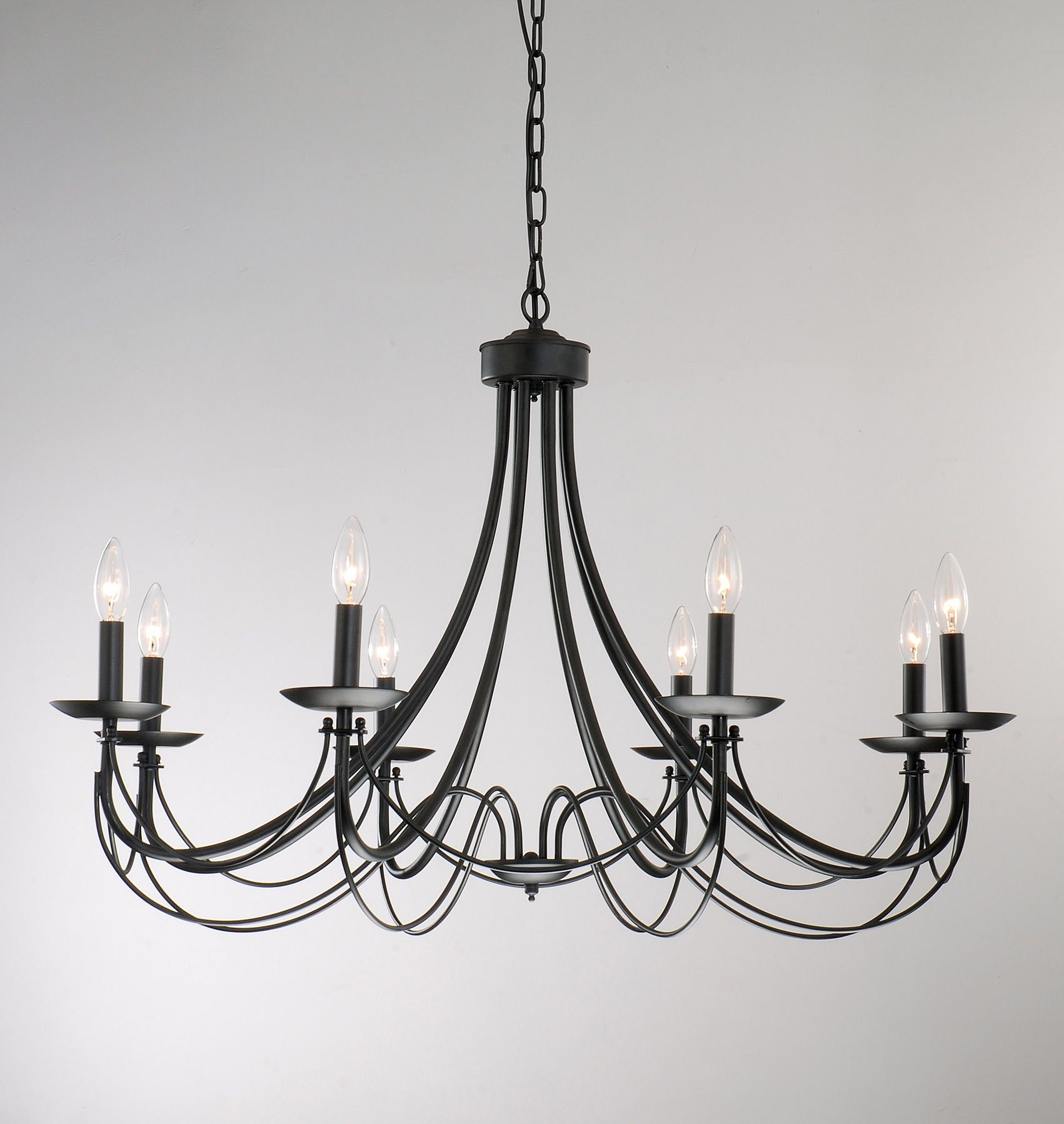 Iron 8 light black chandelier pinterest black chandelier iron 8 light black chandelier overstock shopping great deals on otis designs chandeliers pendants aloadofball Images