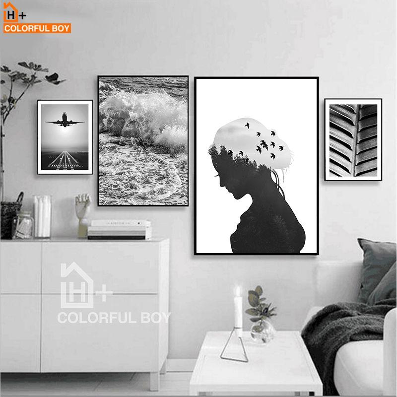 Pas cher COLORFULBOY Mer Paysage Mur Art Toile Peinture Noir Blanc