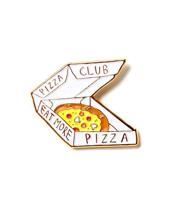 """Do you love pizza? Then come join the pizza club! - Soft enamel pin - Rubber clutch backing - Measurements: 1"""" By Stationery Bicycles"""