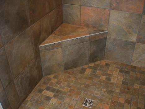 small triangle corner bench bathroom