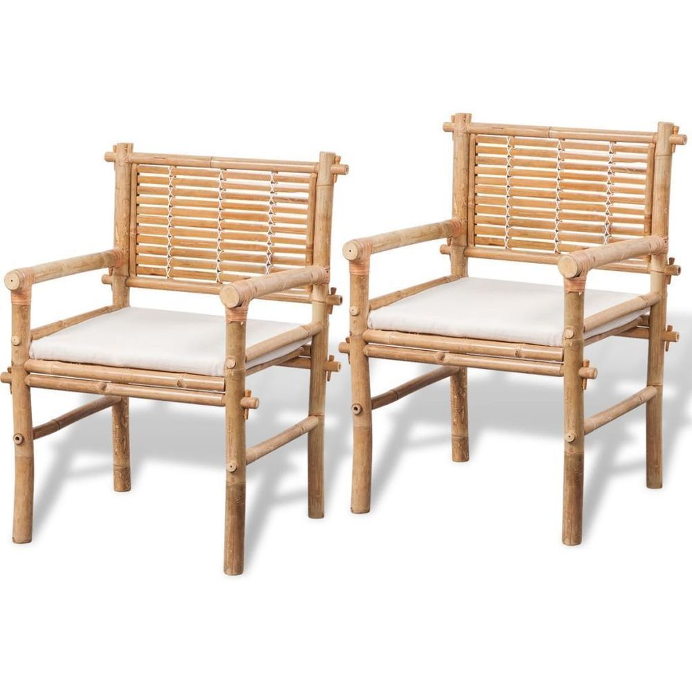 Bamboo Table Chair Set White Cushion Waterproof Garden Outdoor ...