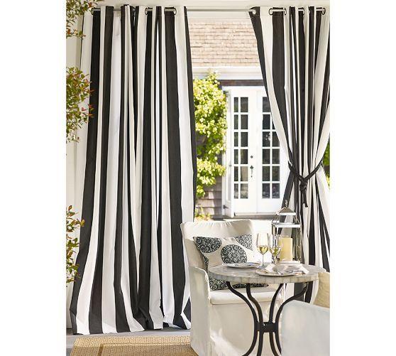Sunbrella&#0174 Awning Stripe Outdoor Grommet Curtain, 50 x 108″, Black