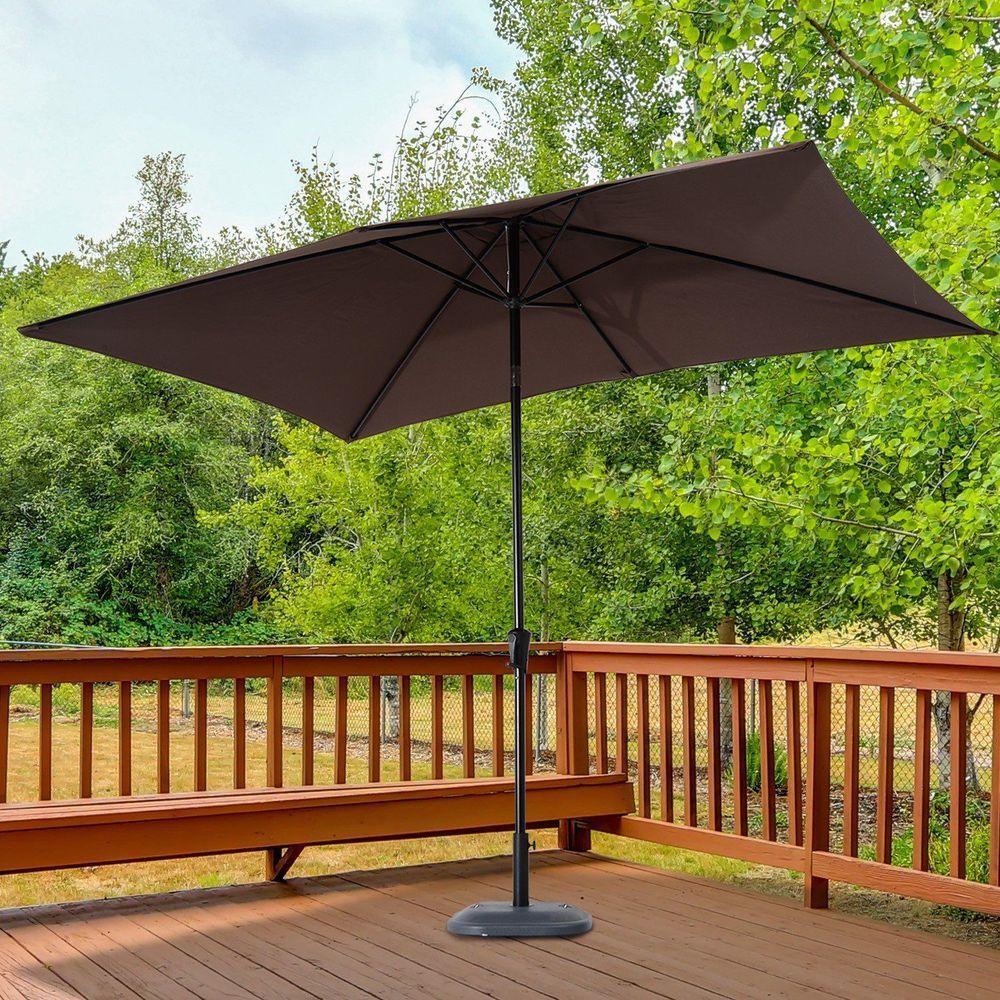 Outdoor Sun Umbrella Parasol Metal Frame Coffee Colour