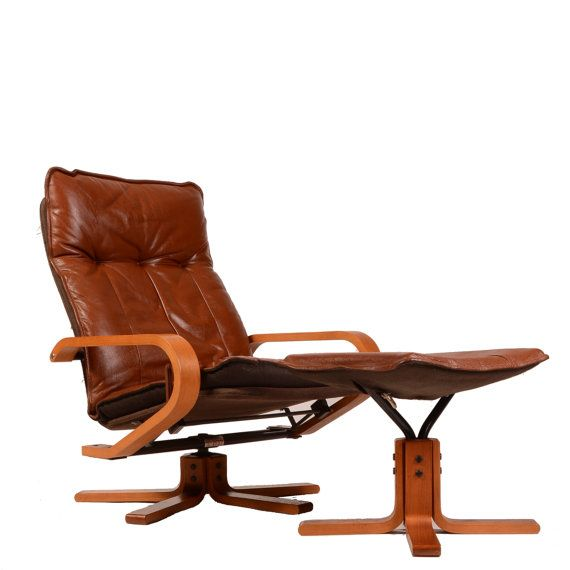 mid century kebe of denmark brown leather reclining chair and