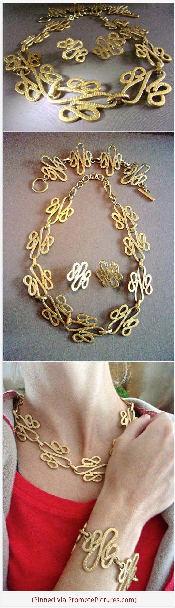 Monet modernist necklace bracelet earrings set gold tone suite
