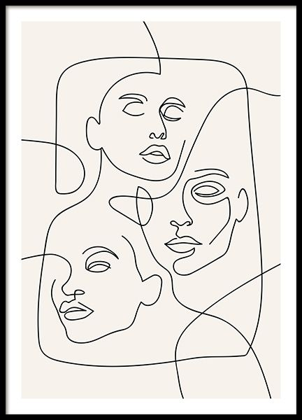 The Three Faces Line Art Affiche