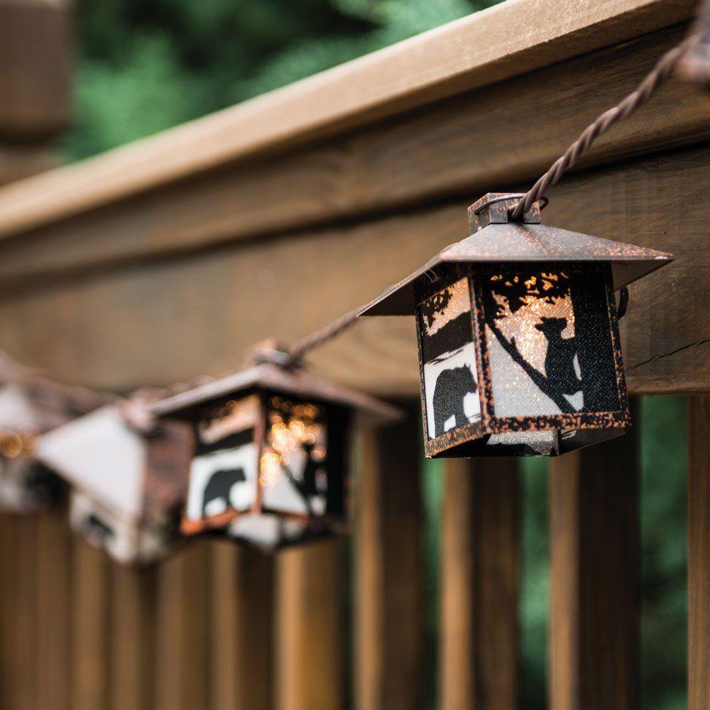 amazon: black bear rustic lantern string lights - cabin