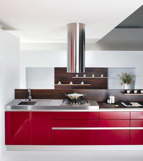diseo de interiores arquitectura diseos de cocinas rojas - Cocinas Blancas Y Rojas