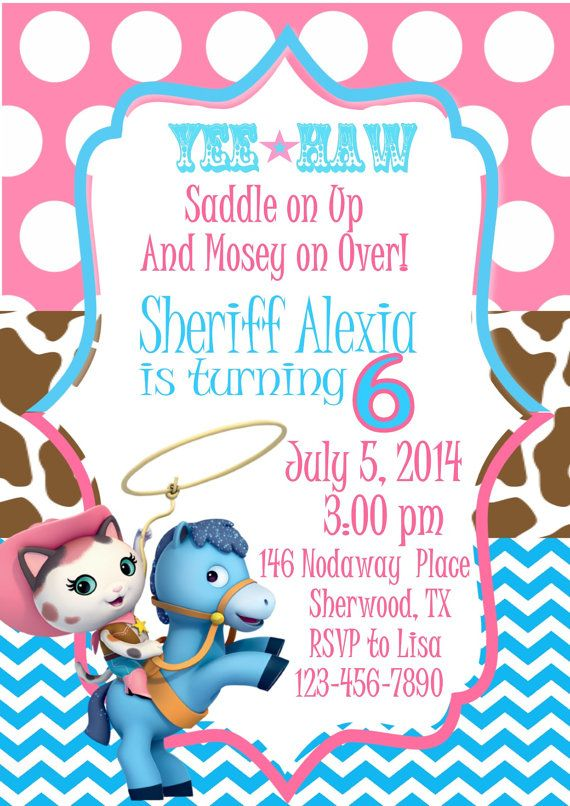 Sheriff Callie Invitation Cowgirl Invitation by EyeCandyEvents1