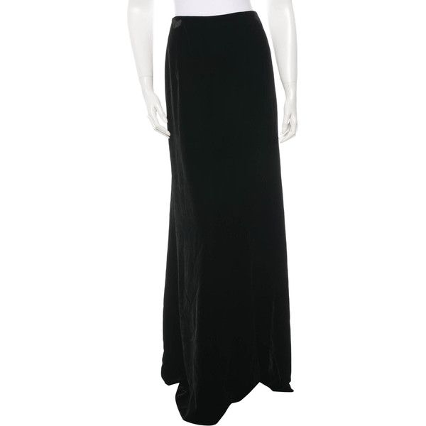 Pre-owned Alberta Ferretti Velvet Maxi Skirt ($75) ❤ liked on Polyvore featuring skirts, black, maxi skirt, alberta ferretti, long skirts, long velvet skirt and alberta ferretti skirts